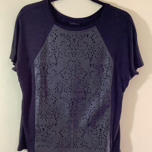 Mossimo Black Knit & Faux Leather Top SZ L
